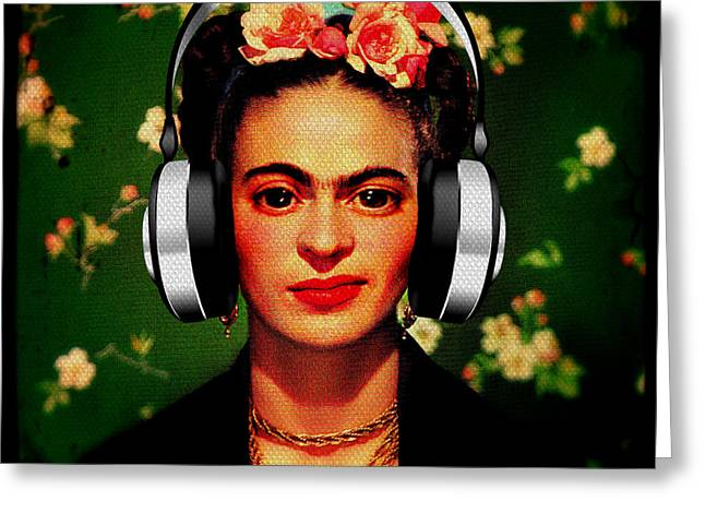 Michelle Mixed Media Greeting Cards - Frida Jams Greeting Card by Michelle Dallocchio