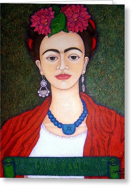 Madalena Lobao-tello Greeting Cards - Frida Kahko portrait with dahlias Greeting Card by Madalena Lobao-Tello