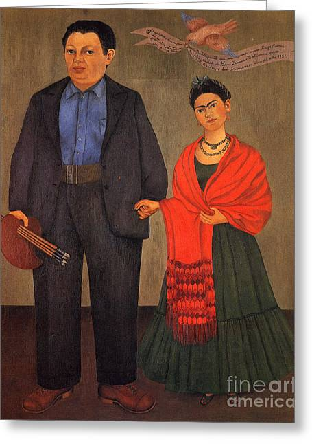 Artist Greeting Cards - Frida Kahlo and Diego Rivera 1931 Greeting Card by Pg Reproductions