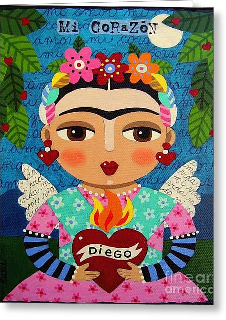 Dia De Los Muertos Art Greeting Cards - Frida Kahlo Angel and Flaming Heart Greeting Card by LuLu Mypinkturtle