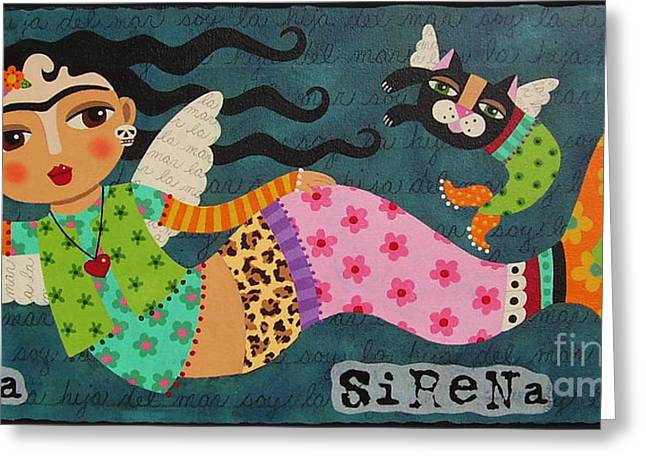 Dia De Los Muertos Art Greeting Cards - Frida Kahlo Angel Mermaid with Skull and Black Cat Greeting Card by LuLu Mypinkturtle