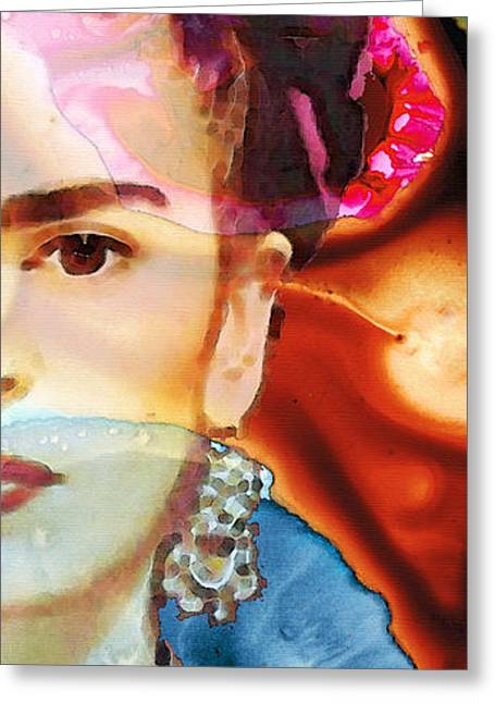Woman Canvas Greeting Cards - Frida Kahlo Art - Seeing Color Greeting Card by Sharon Cummings