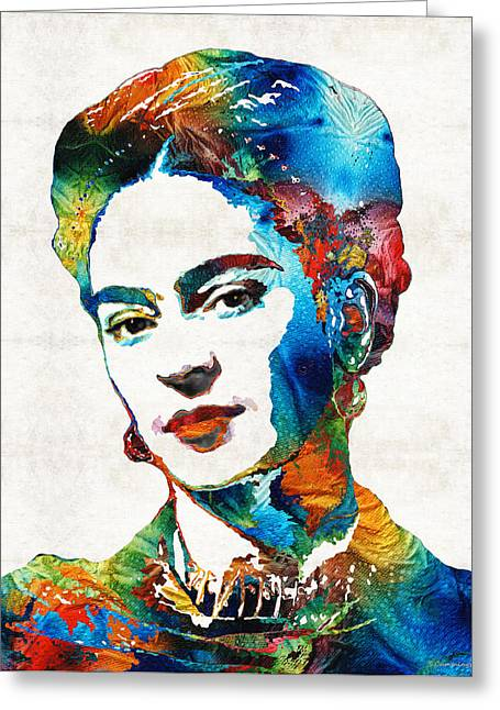 Canvas Wall Art Greeting Cards - Frida Kahlo Art - Viva La Frida - By Sharon Cummings Greeting Card by Sharon Cummings
