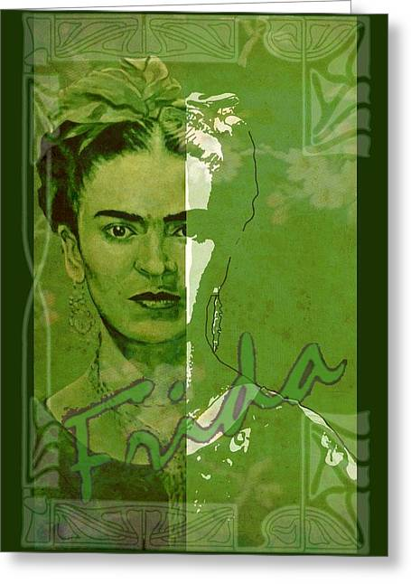 Vintage Painter Greeting Cards - Frida Kahlo - between worlds - green Greeting Card by Richard Tito