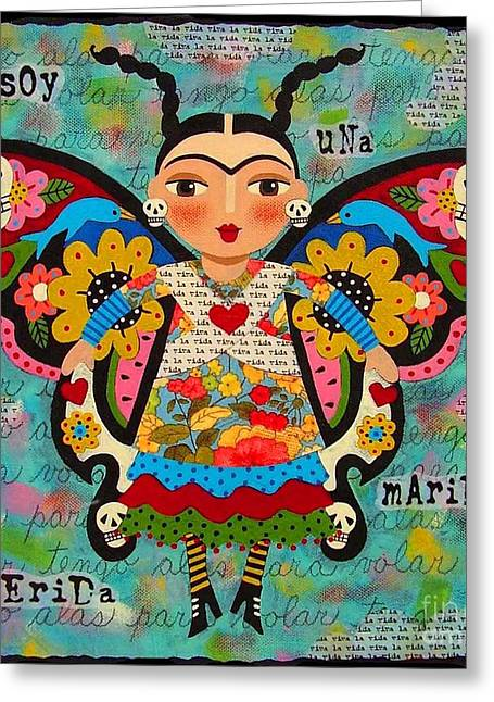 Frida Greeting Cards - Frida Kahlo Butterfly Greeting Card by LuLu Mypinkturtle