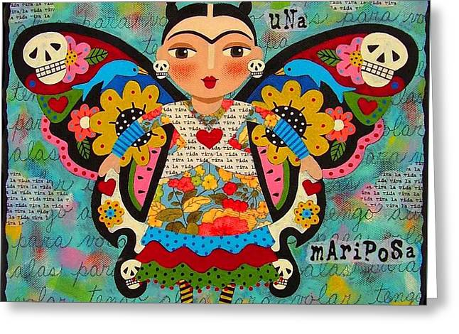 Frida Kahlo Butterfly Greeting Card by LuLu Mypinkturtle