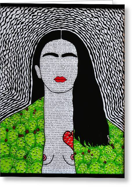 Portrair Greeting Cards - Frida Kahlo corazon de tuna y sus fraces Greeting Card by Yolanda Ortiz