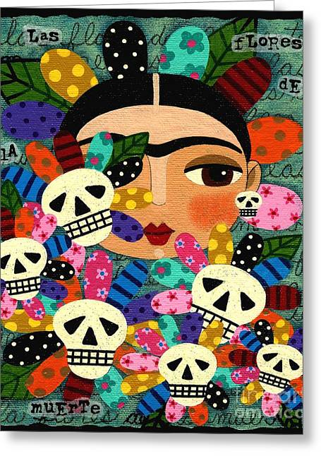 Dia De Los Muertos Art Greeting Cards - Frida Kahlo Day of the Dead Flowers Greeting Card by LuLu Mypinkturtle