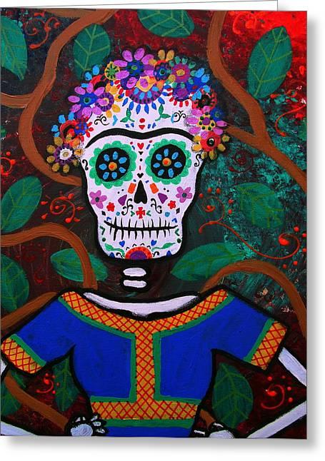 Unibrow Greeting Cards - Frida Kahlo Dia De Los Muertos Greeting Card by Pristine Cartera Turkus