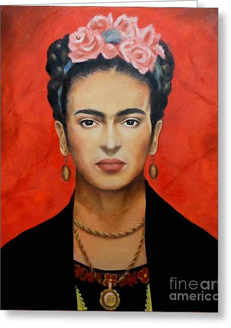 Necklace Greeting Cards - Frida Kahlo Greeting Card by Elena Day