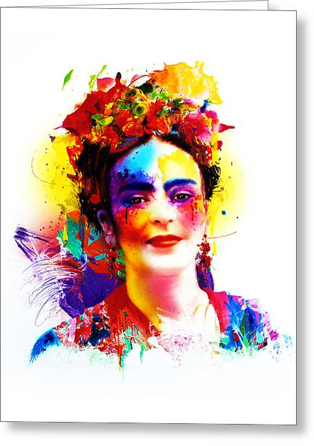 Self-portrait Mixed Media Greeting Cards - Frida Kahlo Greeting Card by Isabel Salvador