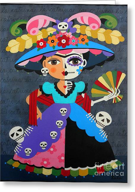 Calaveras Greeting Cards - Frida Kahlo La Catrina Greeting Card by LuLu Mypinkturtle