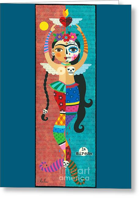 Frida Kahlo Mermaid Angel With Flaming Heart Greeting Card by LuLu Mypinkturtle
