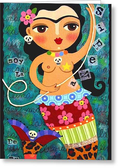 String Art Greeting Cards - Frida Kahlo Mermaid Queen Greeting Card by LuLu Mypinkturtle