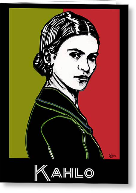 Mexican Drawings Greeting Cards - Frida Kahlo Portrait 1920s Greeting Card by Cecely Bloom