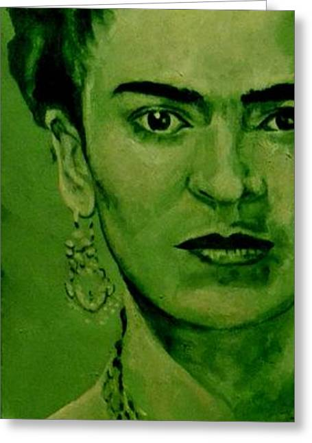 Movie Art Greeting Cards - Frida Kahlo - red bow Greeting Card by Richard Tito