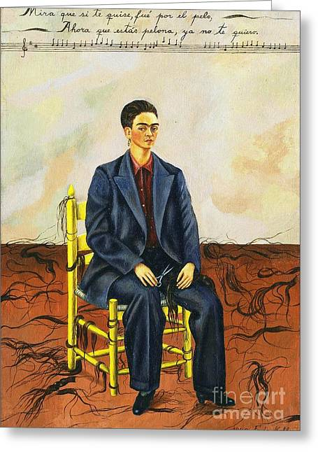 Reproduction Greeting Cards - Frida Kahlo Self-Portrait with Cropped Hair Autorretrato Con Pelo Cortado Greeting Card by Pg Reproductions