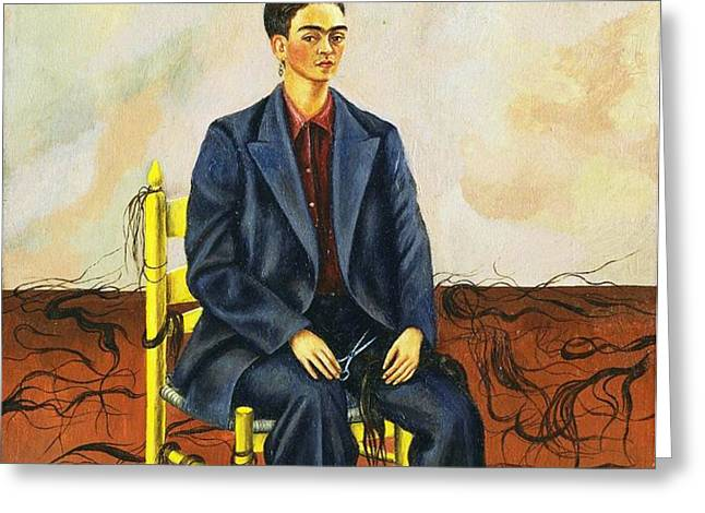 Frida Kahlo Self-Portrait with Cropped Hair Autorretrato Con Pelo Cortado Greeting Card by PG REPRODUCTIONS