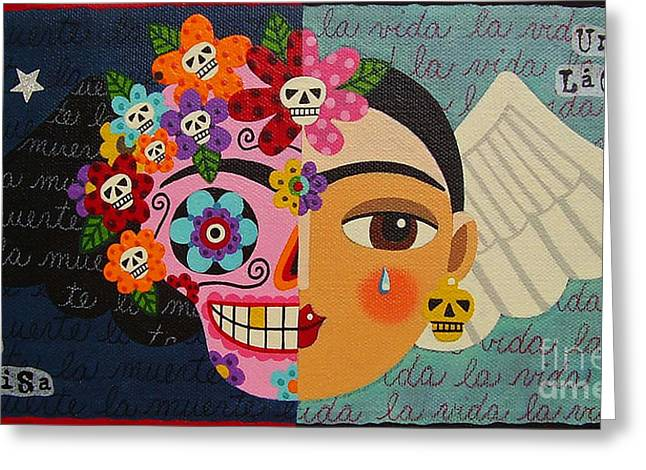 Calaveras Greeting Cards - Frida Kahlo Sugar Skull Angel Greeting Card by LuLu Mypinkturtle