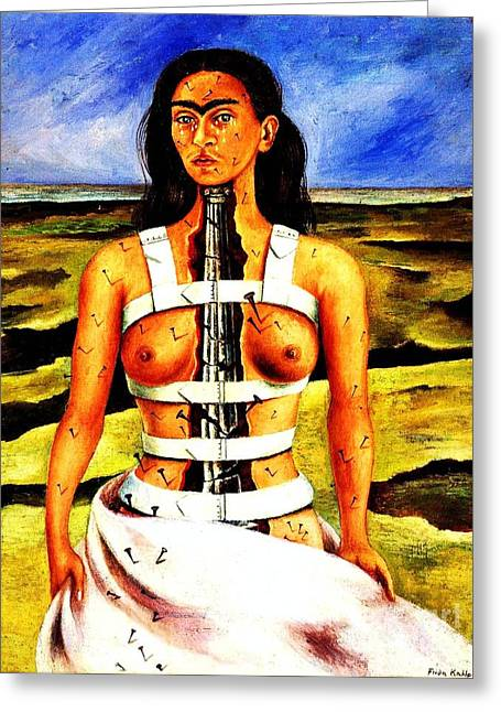 Woman Canvas Greeting Cards - Frida Kahlo The Broken Column Greeting Card by Pg Reproductions