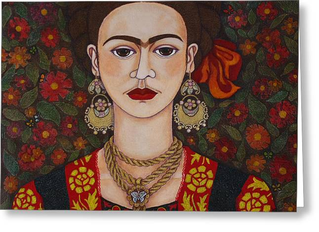 Self-portrait Mixed Media Greeting Cards - Frida Kahlo with butterflies Greeting Card by Madalena Lobao-Tello
