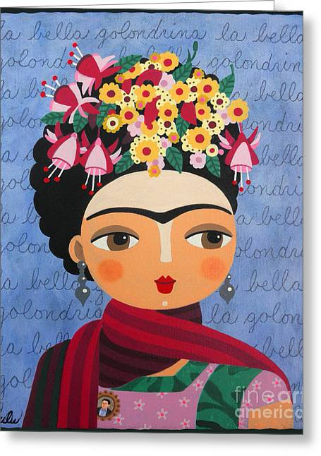 Portrait Prints . Greeting Cards - Frida Kahlo with Fuschias and Lantanas Greeting Card by LuLu Mypinkturtle