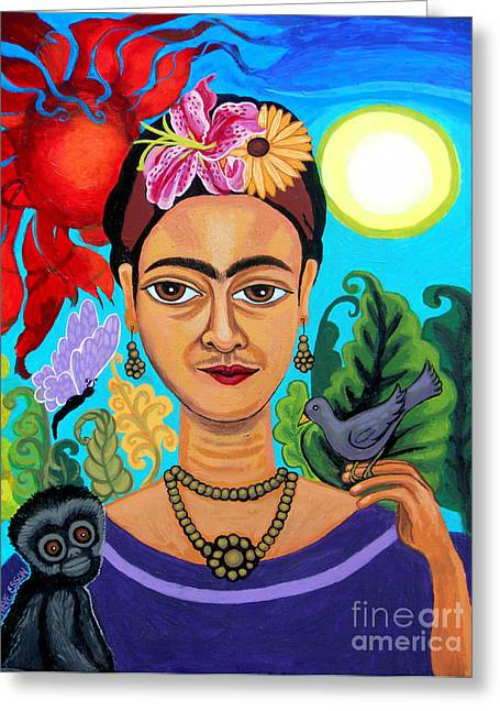 Orange Earrings Greeting Cards - Frida Kahlo With Monkey and Bird Greeting Card by Genevieve Esson