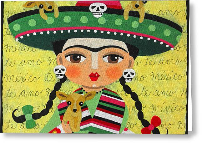 Dia De Los Muertos Art Greeting Cards - Frida Kahlo with Sombrero and Chihuahuas Greeting Card by LuLu Mypinkturtle