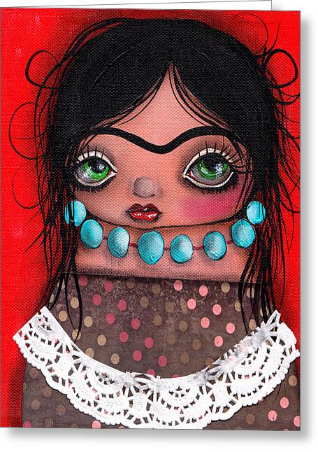 Fairy Painter Greeting Cards - Frida la Gorda Greeting Card by  Abril Andrade Griffith