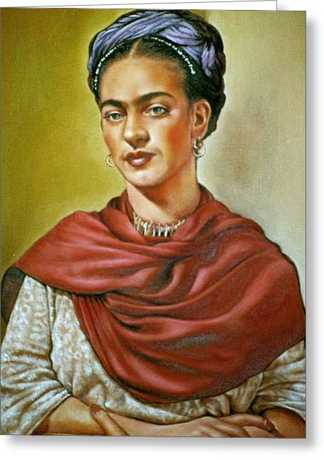 Frida Greeting Card by Mahto Hogue