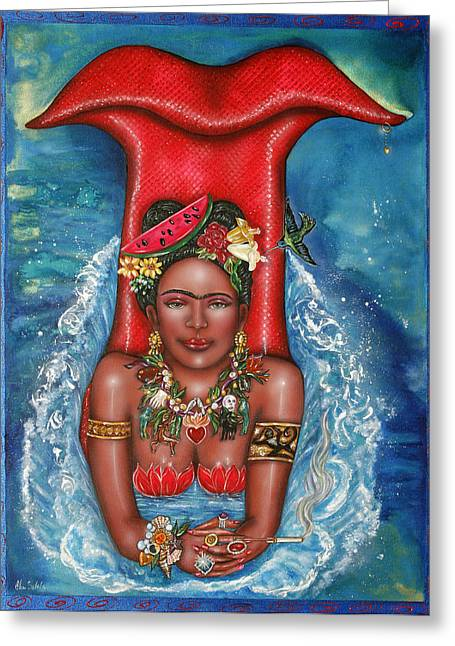 Recently Sold -  - Watermelon Greeting Cards - Frida Makes a Splash Greeting Card by Ilene Satala