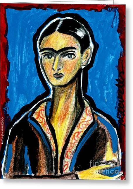 Unibrow Greeting Cards - Frida on Blue Greeting Card by Mary C Wells