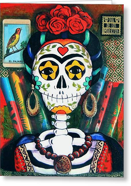 Folkloric Greeting Cards - Frida with Flutes Greeting Card by Candy Mayer