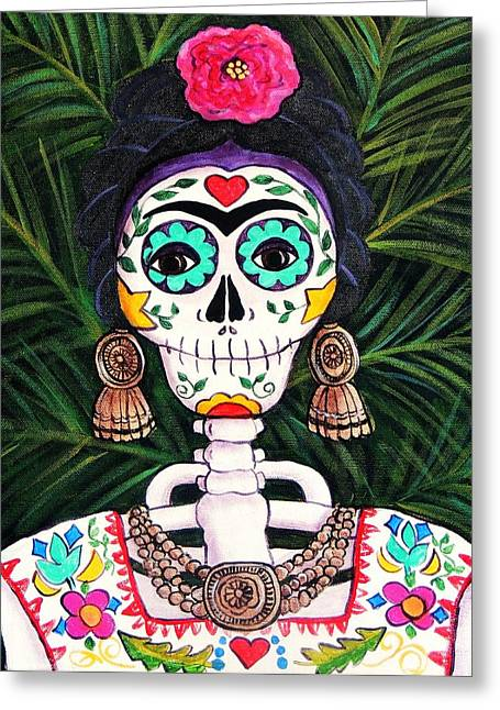 Folkloric Greeting Cards - Frida with Palms Greeting Card by Candy Mayer