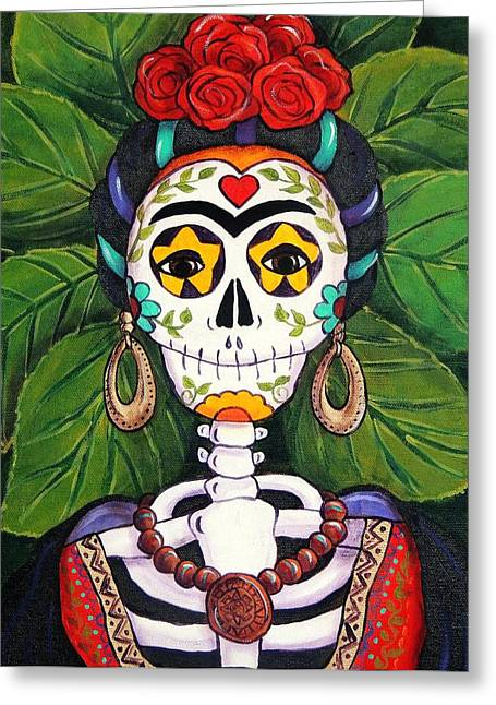 Folkloric Greeting Cards - Frida with Roses Greeting Card by Candy Mayer