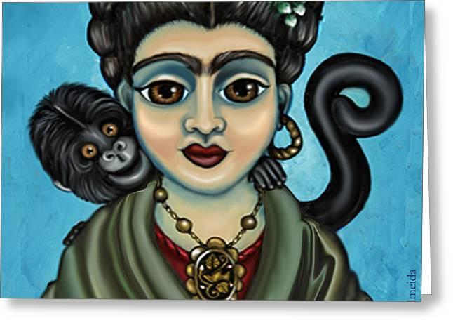 Frida's Monkey Greeting Card by Victoria De Almeida