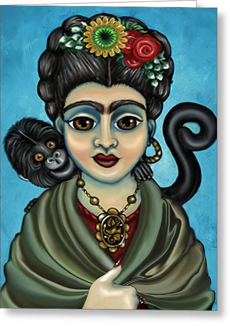 Chimpanzee Paintings Greeting Cards - Fridas Monkey Greeting Card by Victoria De Almeida