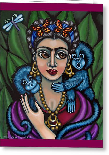 Chimpanzee Paintings Greeting Cards - Fridas Monkeys Greeting Card by Victoria De Almeida