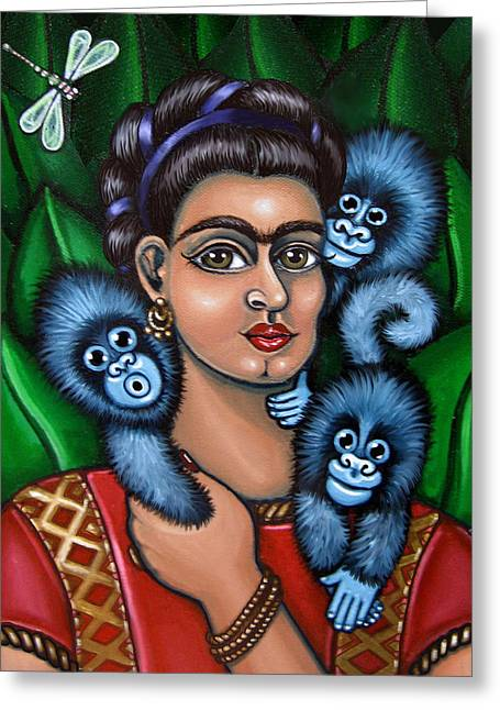 Fridas Triplets Greeting Card by Victoria De Almeida