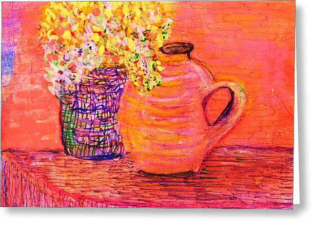 Vase Of Flowers Pastels Greeting Cards - Friday Afternoon Delight Impressionistic Still Life Greeting Card by Anne-Elizabeth Whiteway