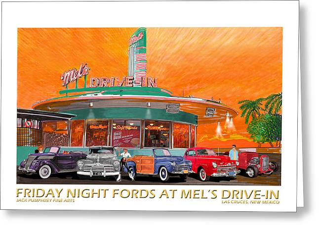 Mels Diner On Friday Night Greeting Card by Jack Pumphrey