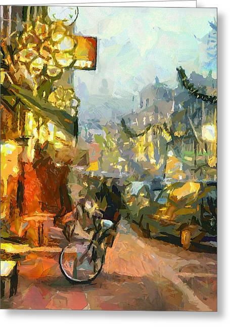 Old Town Digital Art Greeting Cards - Friday night in Amsterdam Greeting Card by Yury Malkov