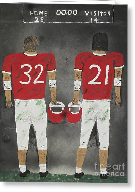 Running Back Paintings Greeting Cards - Friday Night Greeting Card by Jeffrey Koss