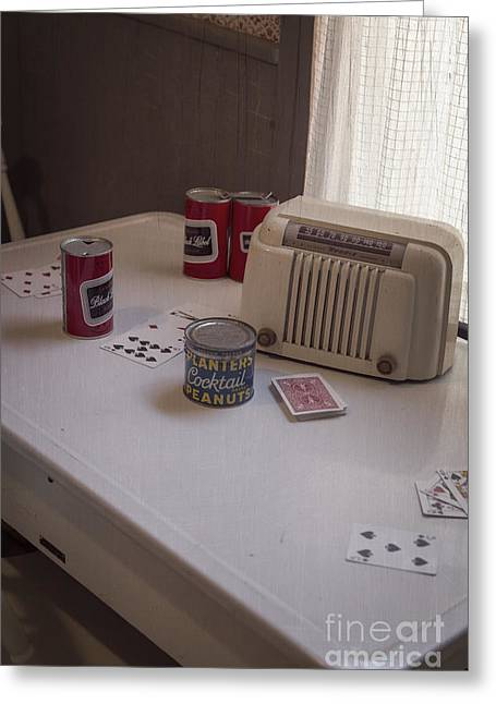 Vintage Radio Greeting Cards - Friday Night Poker Game  Greeting Card by Edward Fielding