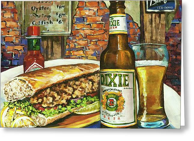 Beer Paintings Greeting Cards - Friday Night Special Greeting Card by Dianne Parks