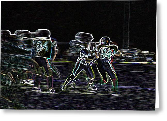 Team Pyrography Greeting Cards - Friday Night Under the Lights Greeting Card by Chris Thomas