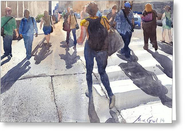 Crosswalk Greeting Cards - Friday Rush Greeting Card by Max Good