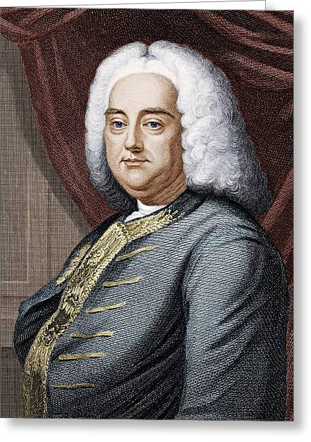 The Opera Orchestra Greeting Cards - Frideric Handel (1685-1759) Greeting Card by Science Photo Library