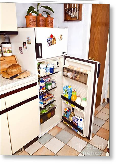Overheating Greeting Cards - Fridge With Open Door Greeting Card by Martyn F. Chillmaid
