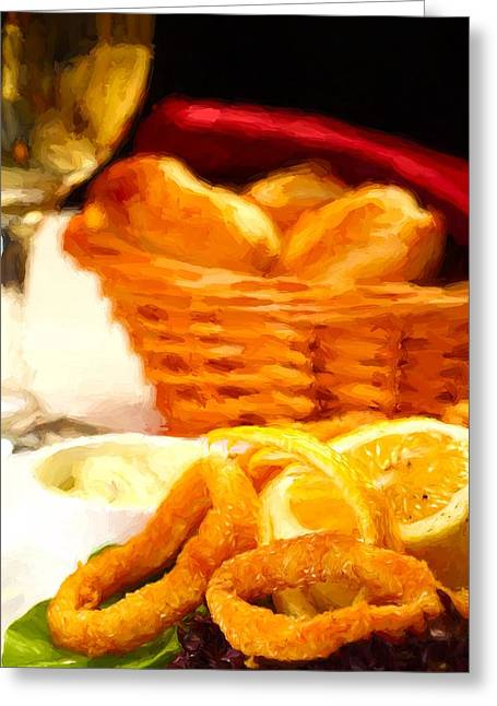 Italian Meal Mixed Media Greeting Cards - Fried calamars Greeting Card by Roberto Giobbi
